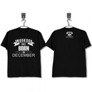T-SHIRT-HITAM-LEGENDS-ARE-BORN-IN-DECEMBER