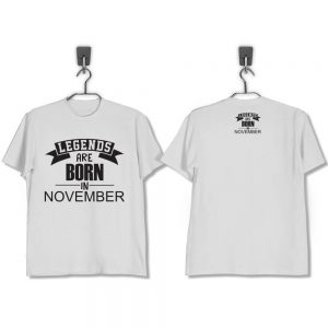 T-SHIRT-PUTIH-LEGENDS-ARE-BORN-IN-NOVEMBER