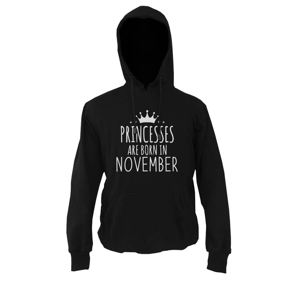 HOODIE-HITAM-PRINCESSES-ARE-BORN-IN-NOVEMBER