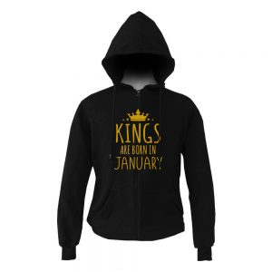 HOODIE ZIPER - BLACK GOLD - KING ARE BORN - JANUARY