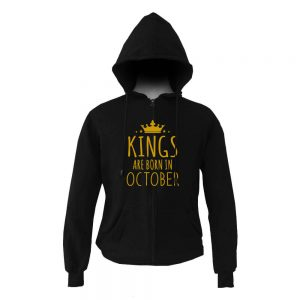 HOODIE ZIPER - BLACK GOLD - KING ARE BORN - OCTOBER