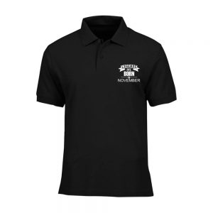 T-SHIRT POLO - BLACK WHITE - LEGEND ARE BORN - NOVEMBER