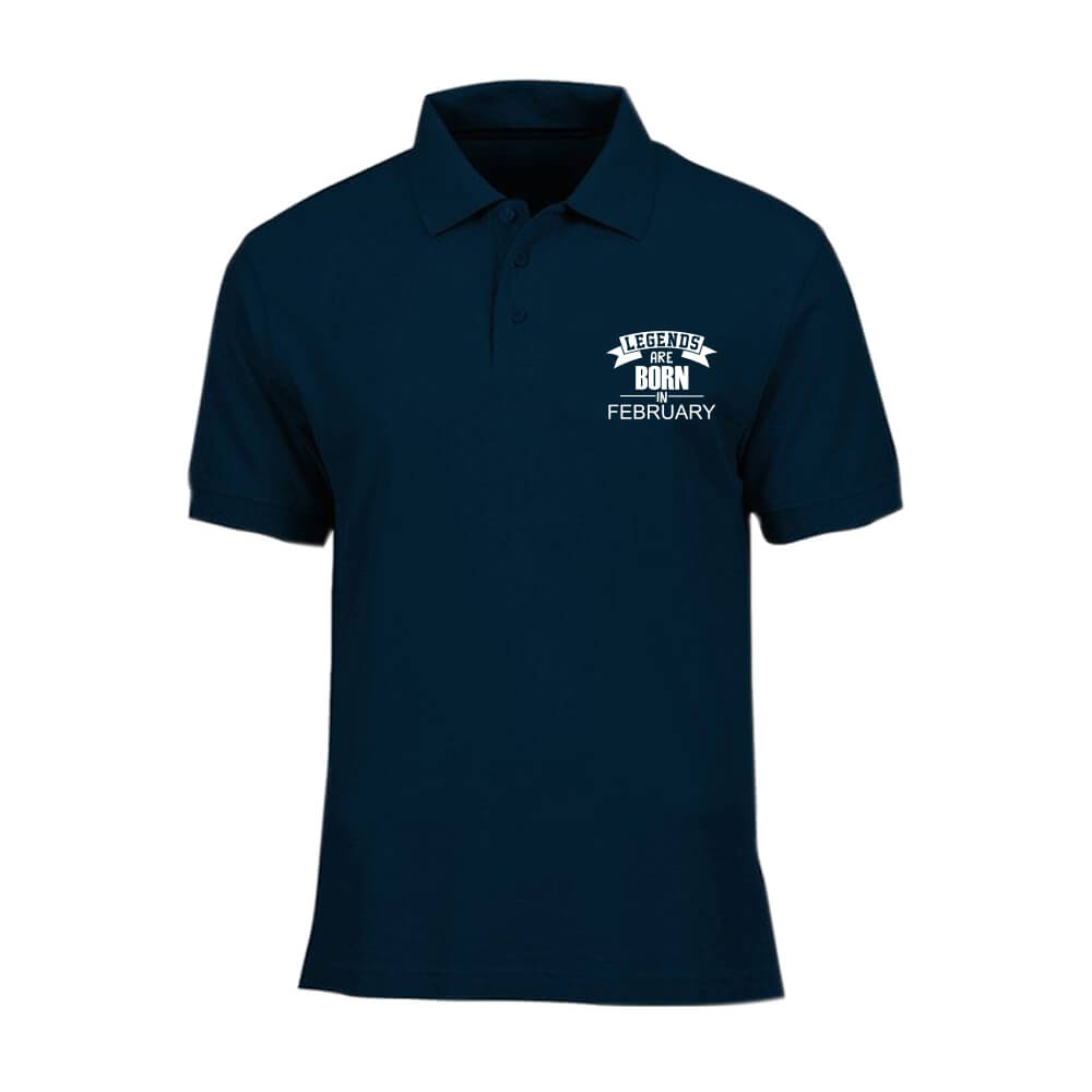 T-SHIRT POLO - NAVY - LEGEND ARE BORN - FEBRUARY