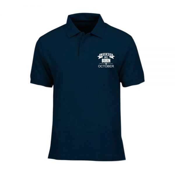 T-SHIRT POLO - NAVY - LEGEND ARE BORN - OCTOBER