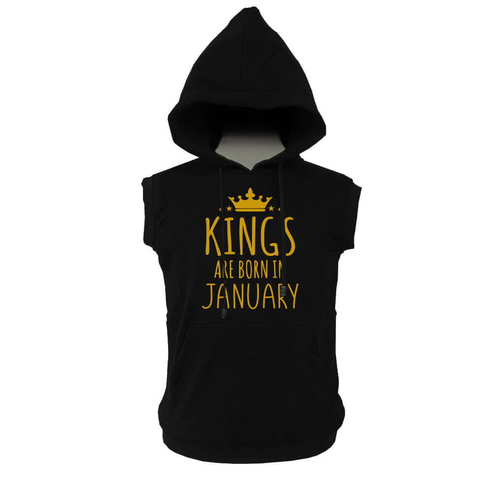 VEST HOODIE - KING ARE BORN - BLACK GOLD - JANUARY