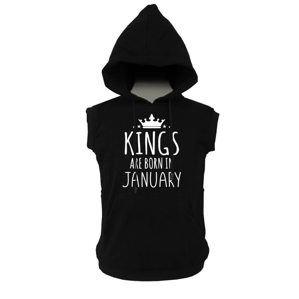 VEST HOODIE - KING ARE BORN - BLACK- JANUARY
