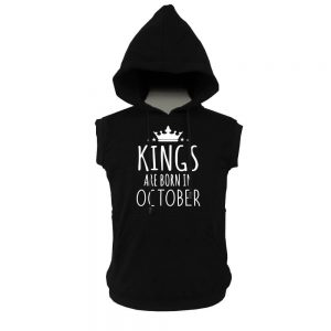 VEST HOODIE - KING ARE BORN - BLACK- OCTOBER