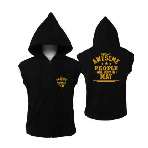 VEST ZIPPER - BLACK GOLD - AWESOME PEOPLE ARE BORN IN - MAY