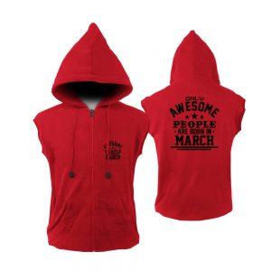 VEST ZIPPER - MERAH - AWESOME PEOPLE ARE BORN IN - MARCH