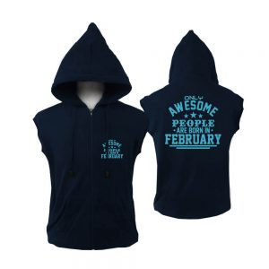VEST ZIPPER - NAVY - AWESOME PEOLE ARE BORN IN - FEBRUARY