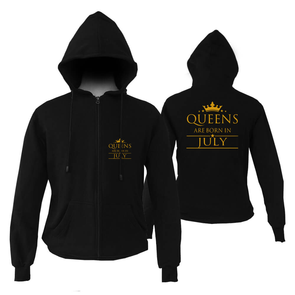 HOODIE-ZIPPER-BLACK-GOLD-QUUEN-ARE-BORN-IN-JULY