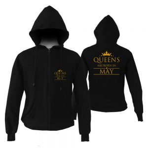 HOODIE-ZIPPER-BLACK-GOLD-QUUEN-ARE-BORN-IN-MAY