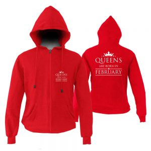 HOODIE-ZIPPER-MERAH-QUUEN-ARE-BORN-IN-FEBRUARY