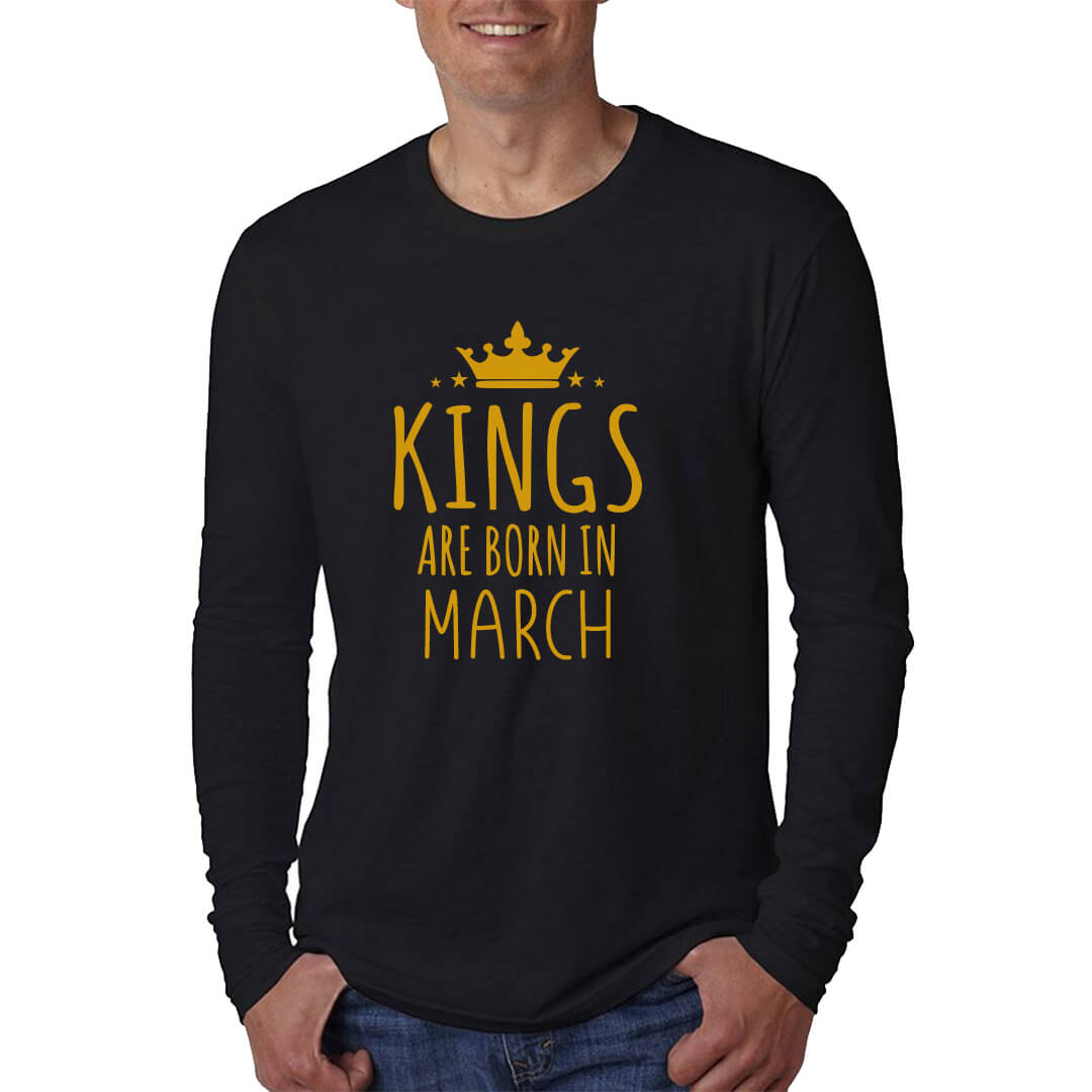 LONG SLEEVE-BLACK-GOLD-KINGS ARE BORN IN MARCH 1