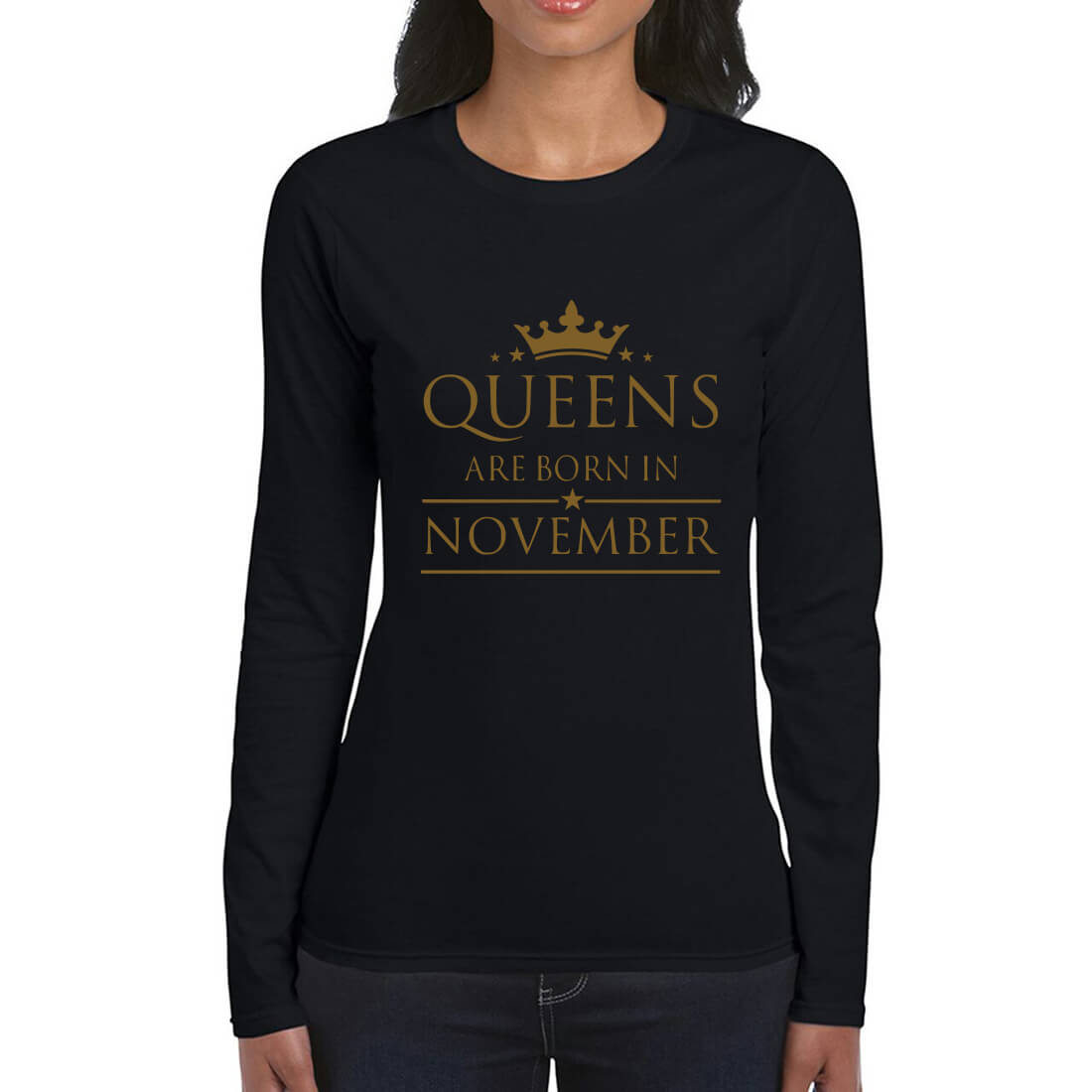 LONGSLEEVE-BLACK GOLD-QUEENS ARE BORN IN NOVEMBER