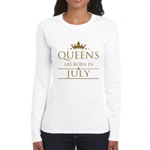 LONGSLEEVE-WHITE GOLD-QUEENS ARE BORN IN JULY