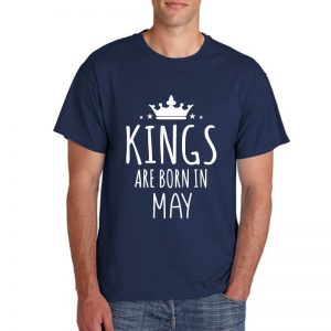 T-SHIRT - NAVY - KING ARE BORN - MAY