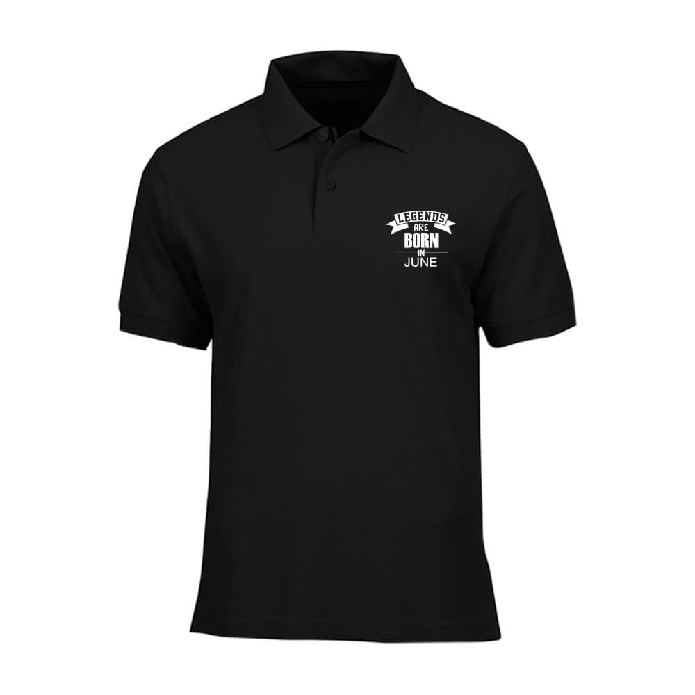 T-SHIRT POLO - BLACK WHITE - LEGEND ARE BORN - JUNE
