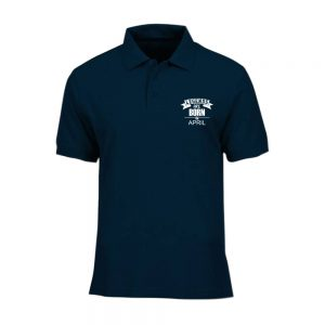 T-SHIRT POLO - NAVY - LEGEND ARE BORN - APRIL