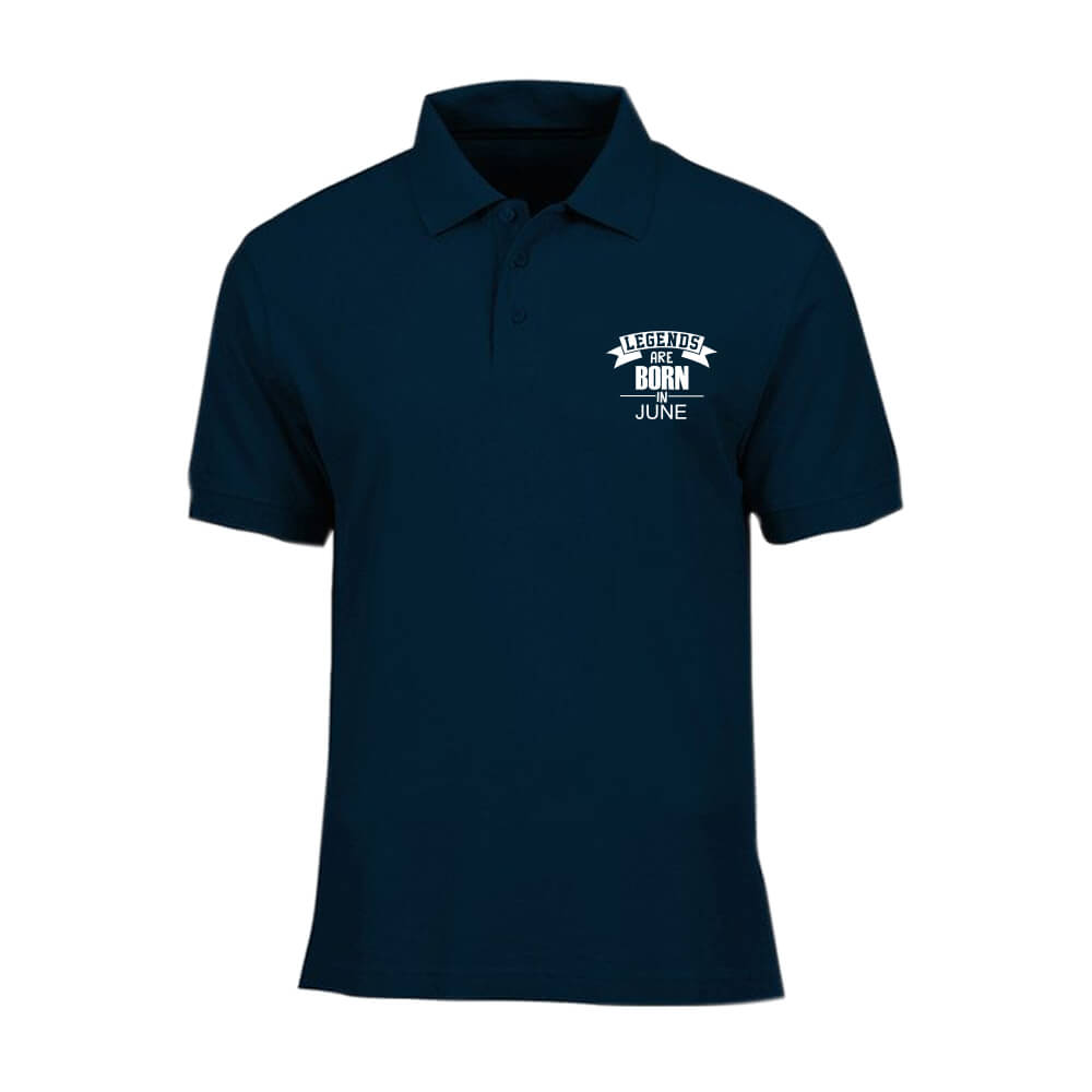 T-SHIRT POLO - NAVY - LEGEND ARE BORN - JUNE