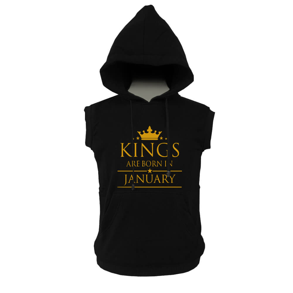 VEST HOODIE - BLACK GOLD - KING ARE BORN - JANUARY