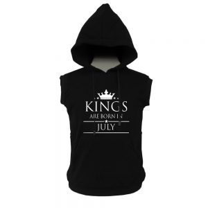 VEST HOODIE - BLACK - KING ARE BORN - JULY