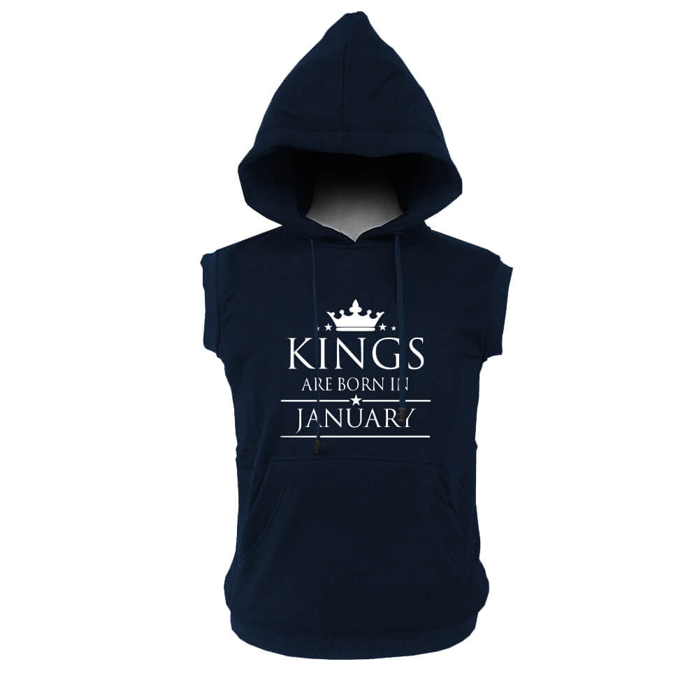 VEST HOODIE - NAVY - KING ARE BORN - JANUARY
