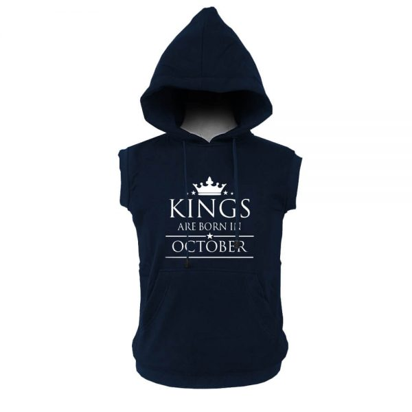 VEST HOODIE - NAVY - KING ARE BORN - OCTOBER
