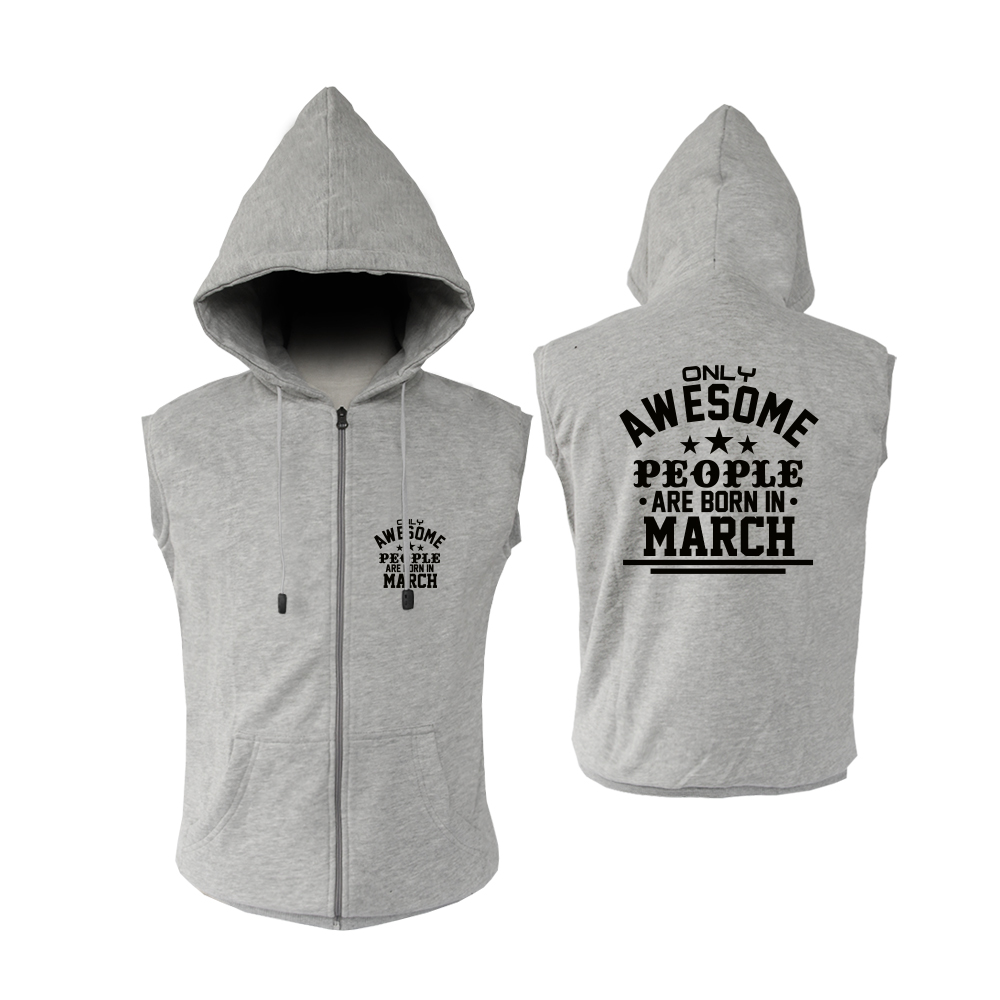 VEST ZIPPER - ABU MISTY - AWESOME PEOPLE ARE BORN IN - MARCH