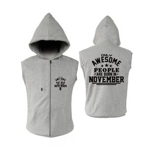 VEST ZIPPER - ABU MISTY - AWESOME PEOPLE ARE BORN IN - NOVEMBER