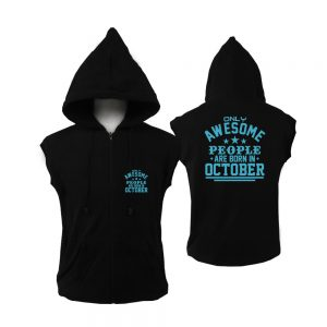 VEST ZIPPER - BLACK - AWESOME PEOPLE ARE BORN IN - OCTOBER