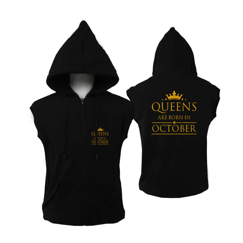VEST-ZIPPER-BLACK-GOLD-QUEEN-ARE-BORN-OCTOBER