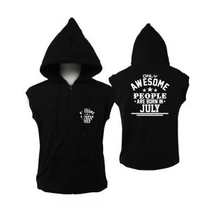 VEST ZIPPER - BLACK WHITE - AESOME PEOPLE ARE BORN IN - JULY