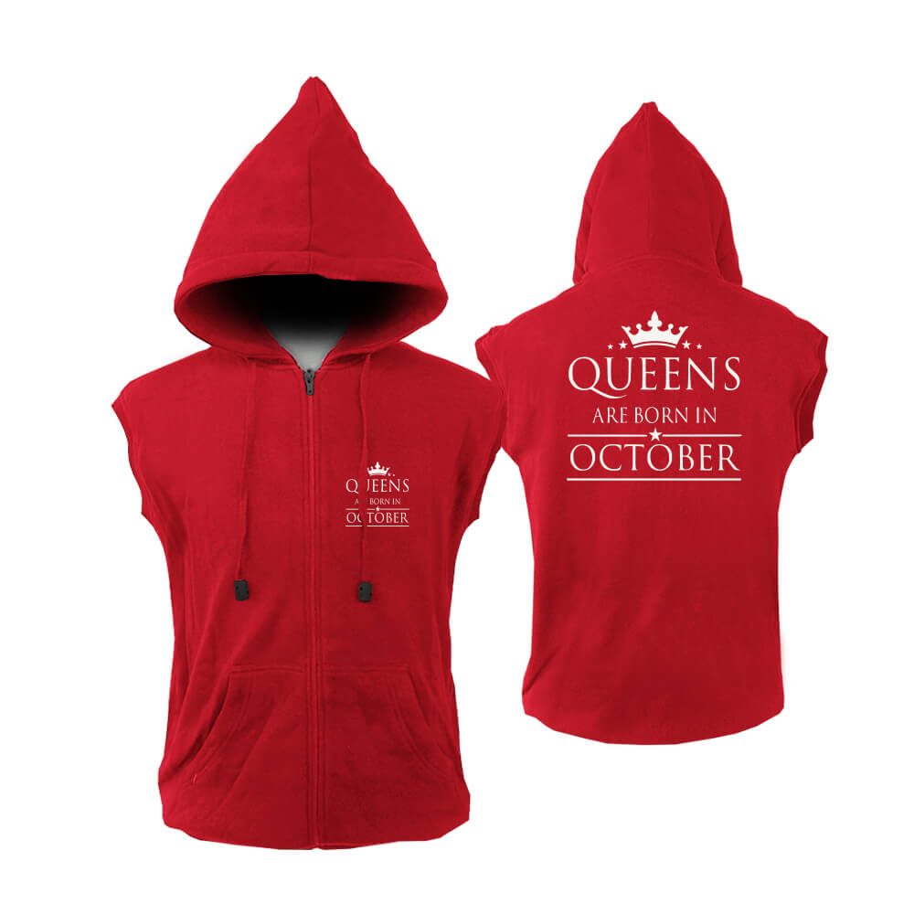 VEST-ZIPPER-MERAH--QUEEN-ARE-BORN-OCTOBER