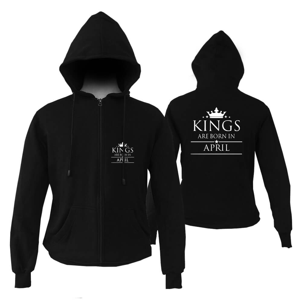 ZIPPER HOODIE - BLACK - KING ARE BORN - APRIL