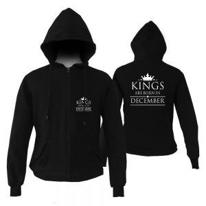 ZIPPER HOODIE - BLACK - KING ARE BORN - DECEMBER