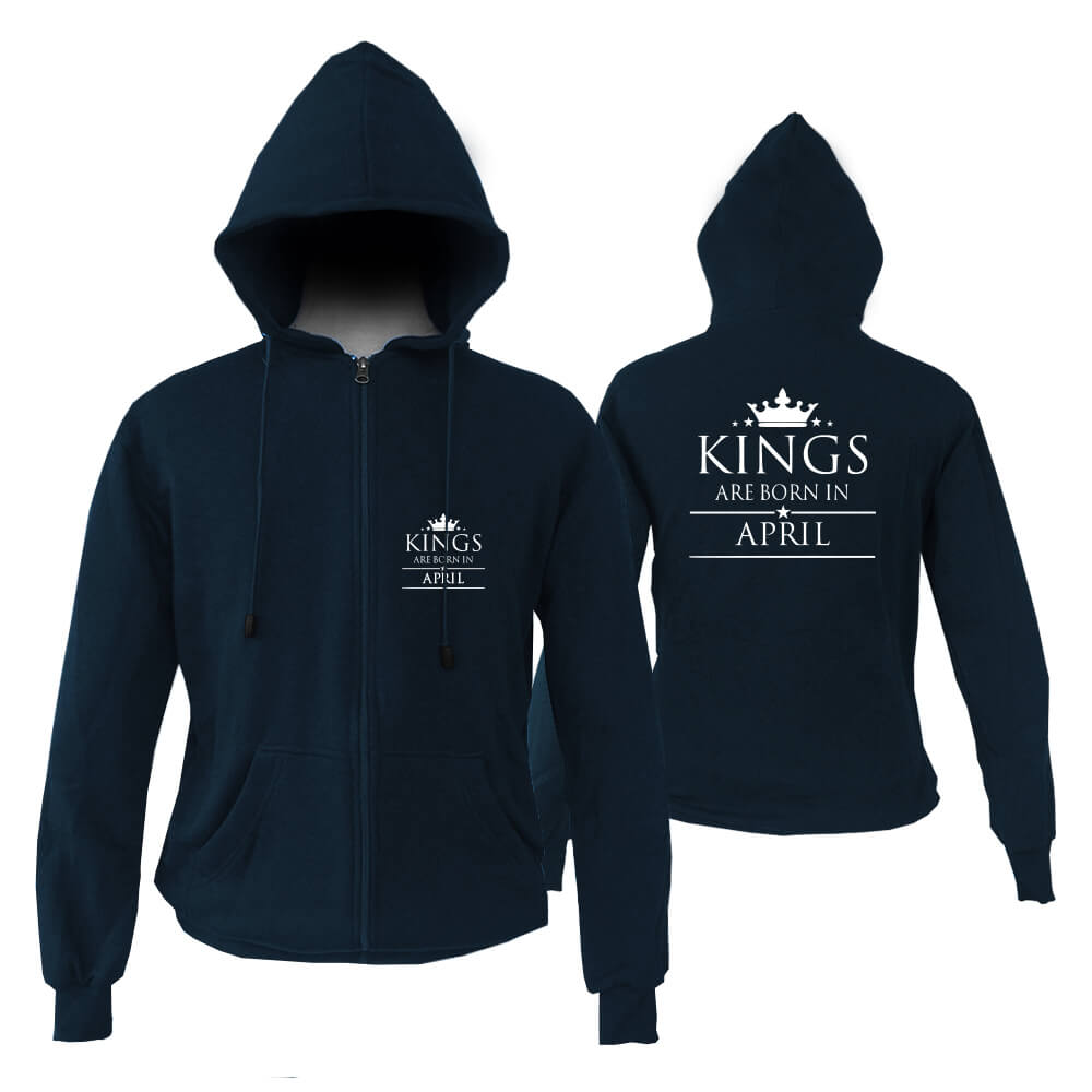 ZIPPER HOODIE - NAVY KING ARE BORN - APRIL