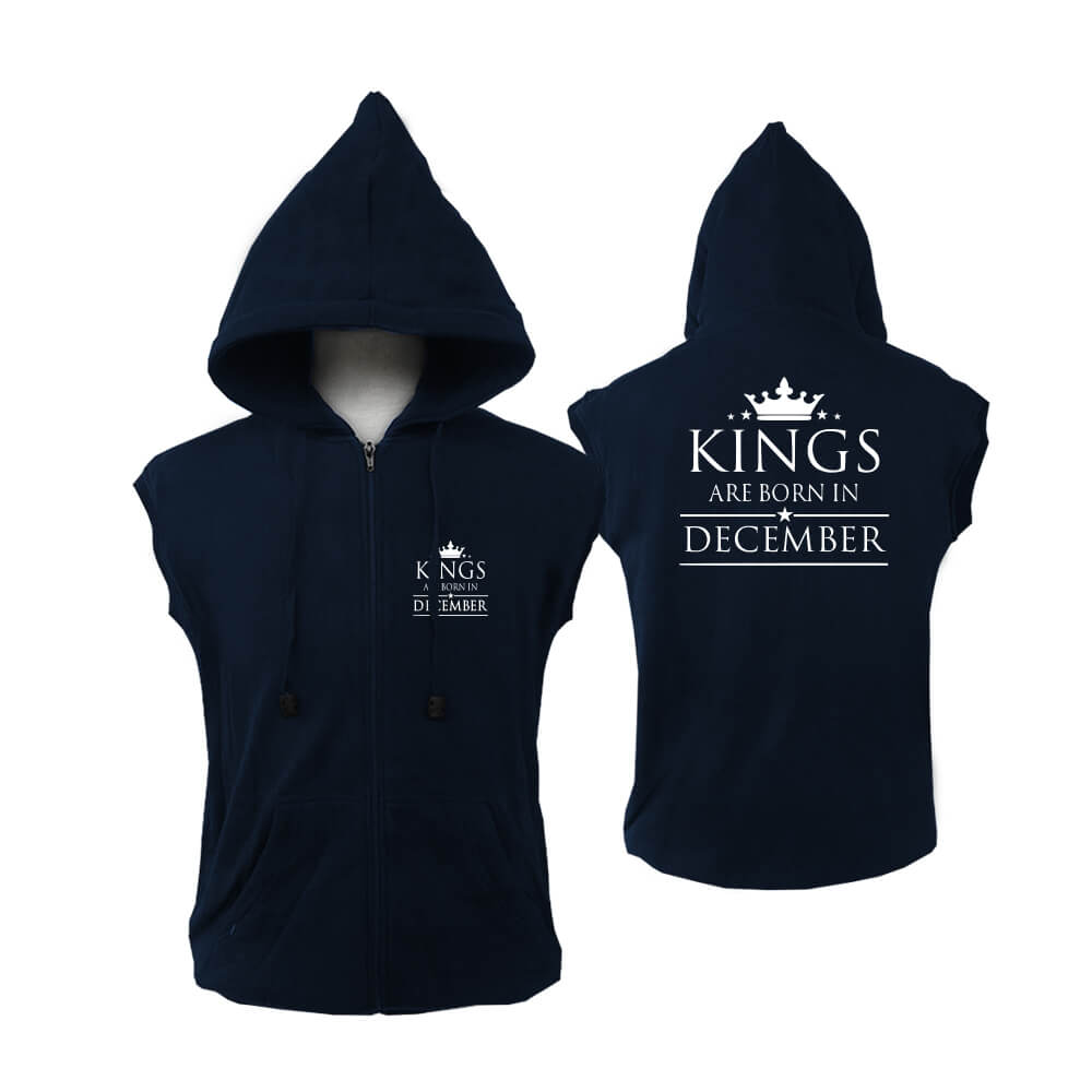 ZIPPER HOODIE - NAVY - KING ARE BORN - DECEMBER