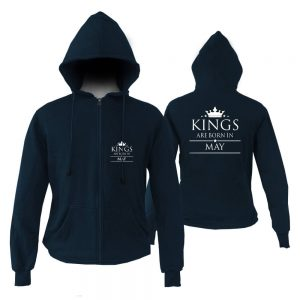 ZIPPER HOODIE - NAVY KING ARE BORN - MAY