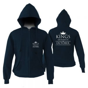 ZIPPER HOODIE - NAVY KING ARE BORN - OCTOBER