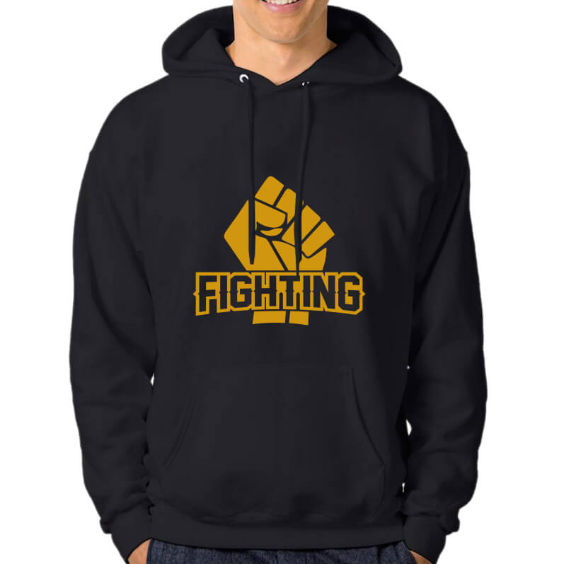 HOODIE-BKLACK-GOLD-FIGHTING
