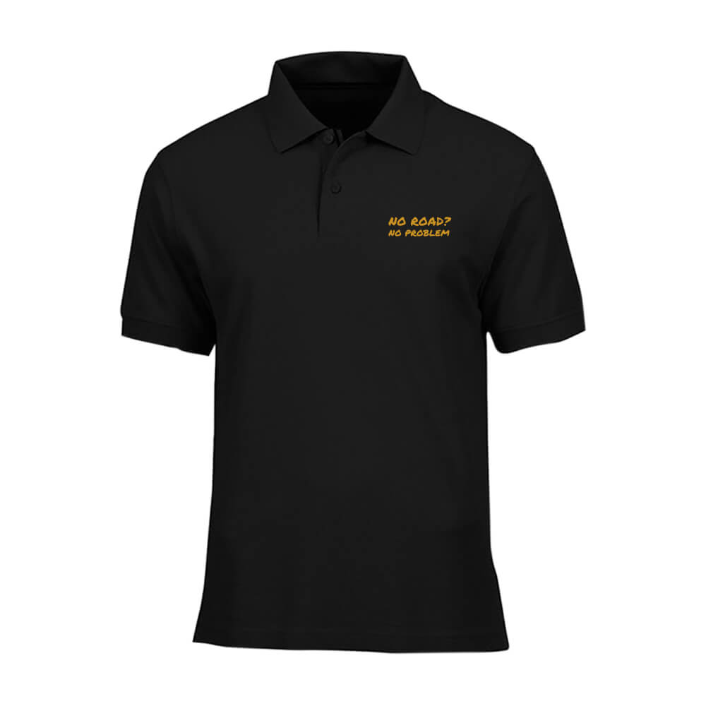 POLO-SHIRT-BLACK-GOLD-NO-ROAD-NO-PROBLEM