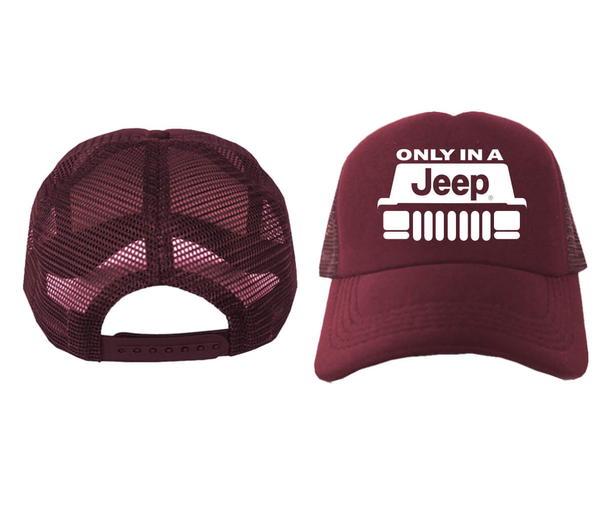 TRUCKER-ONLY-IN-A-JEEP-MAROON